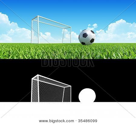 Football (soccer) goals and ball on clean empty green field, closeup. Alpha blending layer included. Concept for team, championship, league poster / website design. One from collection.