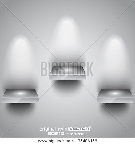Shelf with spotlights to use for products advertisement and featured placements.
