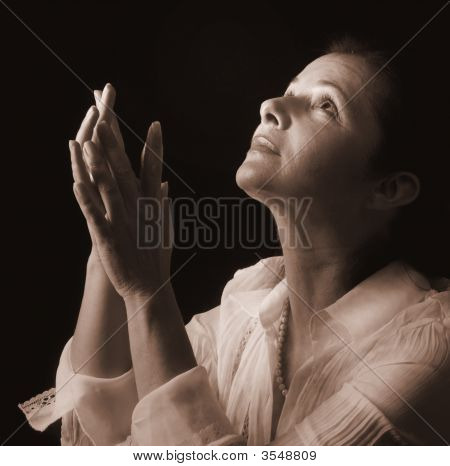 Woman In Prayer, Sepia