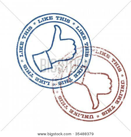 Like and unlike stamps illustration. Raster version