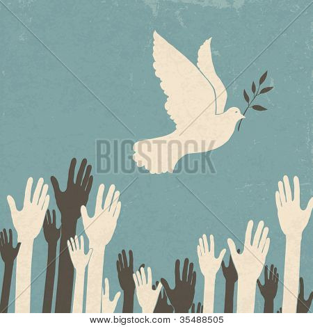 Group of hands and dove of peace. Retro illustration. Raster version.