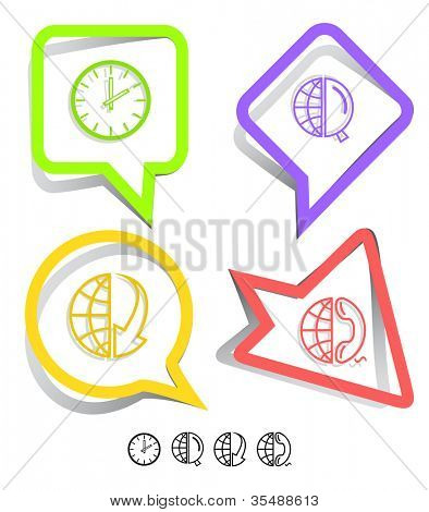 Business icon set. Globe and array down, globe and magnifying glass, globe and phone, clock. Paper stickers. Raster illustration.