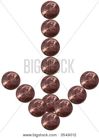 Abstract Pennies Arrow Down