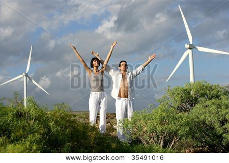 Zen couple on a wind farm
