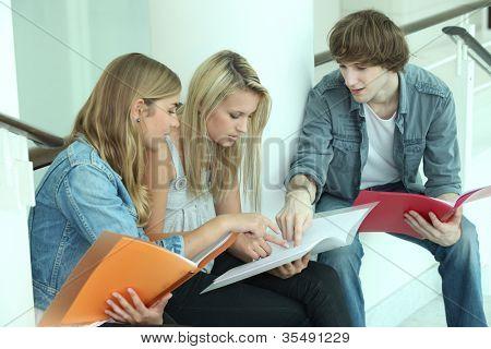 Teenagers sitting on steps