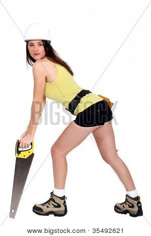 Sexy woman with an handsaw.