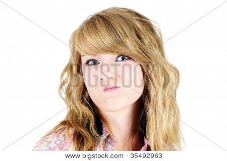 Blond Teenager Making Unhappy Funny Face