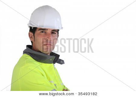 Construction worker wearing reflective jacket