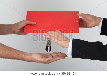 Exchanging signed contract for keys