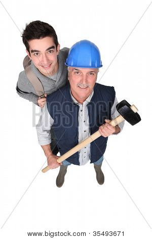 A manual worker and his grandson.