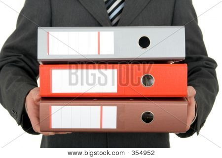 Businessman Holding Bindemittel