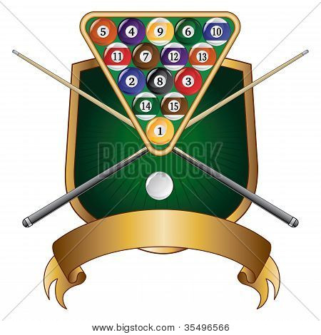 Pool or Billiards Emblem Design Shield