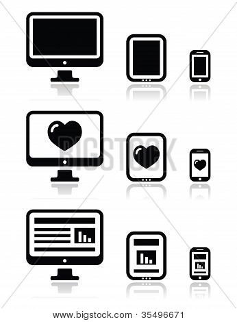 Responsive website design - computer screen, mobile, tablet icons set