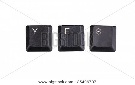 Keyboard keys saying yes isolated on white