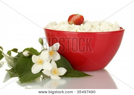 cottage cheese with strawberry in red bowl and flowers on white background close-up