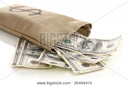 Bag with money close-up isolated on white