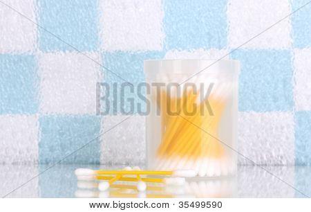 Cotton ear sticks in bathroom