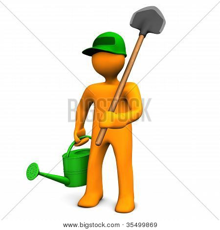 Gardener With Watering Can And Spade
