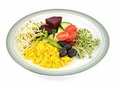 picture of haldi  - Plate of Couscous with mixed salad items - JPG