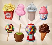 stock photo of gumball machine  - A collection of fair drinks and sweets - JPG