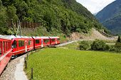 picture of engadine  - Swiss mountain train Bernina Express crossed Alps via Bernina Pass - JPG