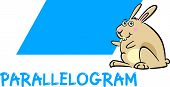 stock photo of parallelogram  - Cartoon Illustration of Parallelogram Basic Geometric Shape with Funny Bunny Character for Children Education - JPG