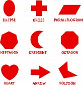 stock photo of parallelogram  - Illustration of Basic Geometric Shapes with Captions for Children Education - JPG