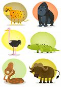 stock photo of jungle snake  - Illustration of a set of cartoon wild animals from african savannah including cheetah gorilla ostrich crocodile snake and buffalo - JPG