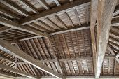 pic of tithe  - Modern wooden roof with main beam and joist - JPG