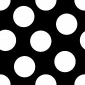stock photo of dot pattern  - A seamless pattern of large white polka dots on a black background - JPG