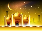 stock photo of kaba  - Golden Mosque or Masjid on beautiful shiny  background with moon - JPG