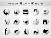 stock photo of masjid  - Islamic website icons set - JPG