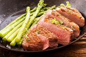 stock photo of duck breast  - duck breast fillet with asparagus - JPG