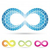 stock photo of mobius  - Vector illustration of infinity symbols with mosaic pattern - JPG