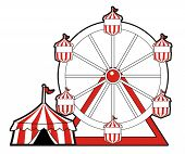 pic of circus tent  - Red colored circus tent with ferris wheel - JPG