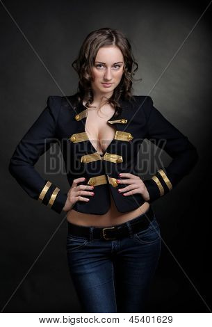 Playful sexy woman in black jacket