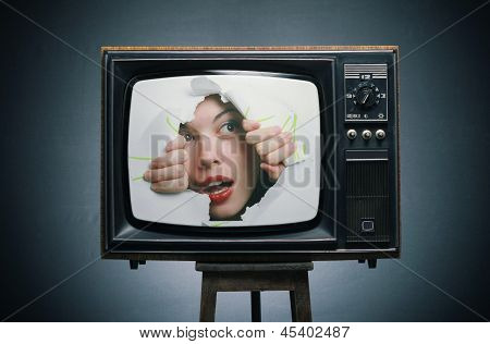 TV with a picture of a gir