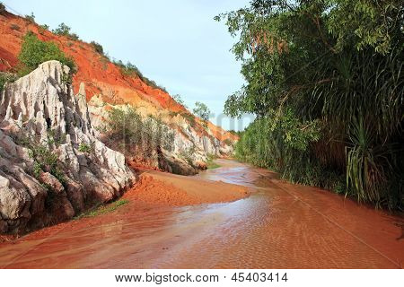 Landscape With River Between Red Rocks And Jungle. Vietnam