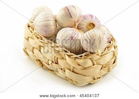 Chinese Garlic (solo) On A White Background