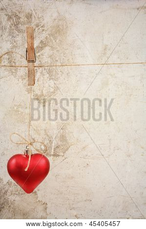 Eart As A Symbol Of Love/vintage Card With Red Heart On Grunge Vintage Love/valentine Background