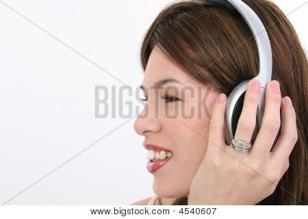 Profile Beautiful Hispanic Woman With Headphones