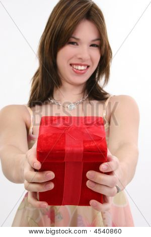 Beautiful Hispanic Girl With Gift