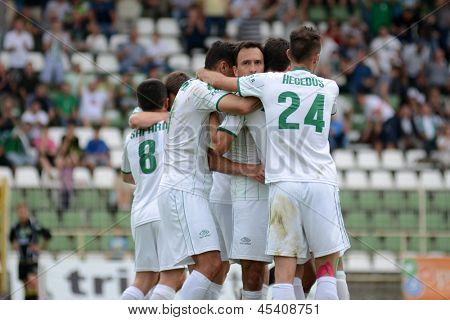 KAPOSVAR, HUNGARY - APRIL 27: Kaposvar players celebrate a goal at a Hungarian National Championship soccer game - Kaposvar (white) vs Szombathely (black) on April 27, 2013 in Kaposvar, Hungary.