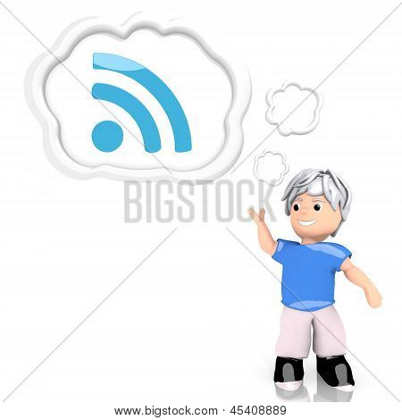 Illustration of a creative wifi icon  thought by a 3d character