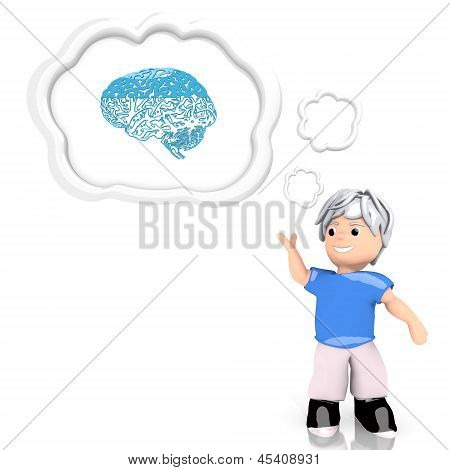 3d graphic of a isolated brain icon  thought by a 3d character