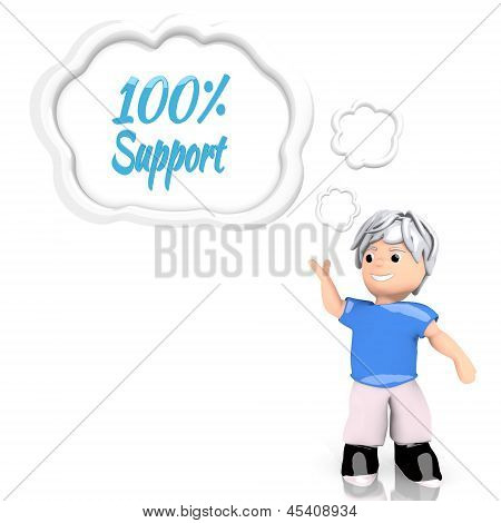 support symbol  thought by a 3d character