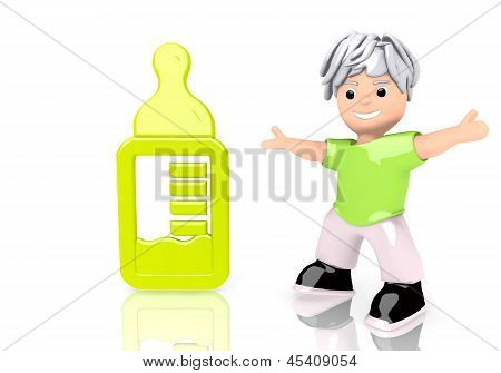 3d render of a funny baby food sign  with cute 3d character
