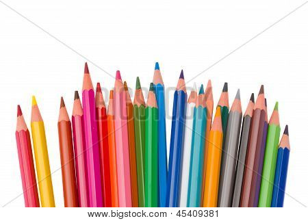 set of  multicolored pencils
