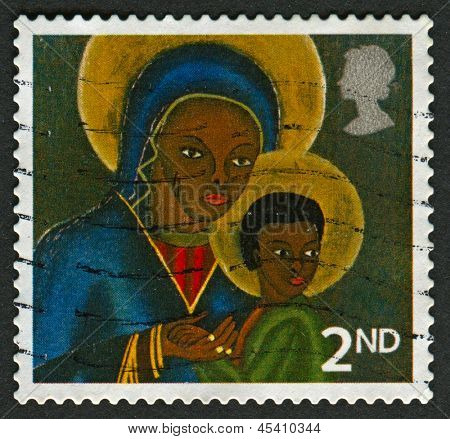 UK - CIRCA 2005: A stamp printed in UK shows image of The Black Madonna and Child from Haiti, circa 2005.