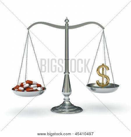 Scales medicine and dollar
